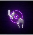 neon vinyl sign dj hand on vinyl sound mixer dj vector image vector image