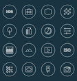picture icons line style set with filtration blur vector image vector image