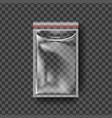 plastic zipper transparent zip wrap empty vector image vector image