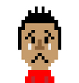 Red shirt man cry emoticon pixel-art character vector image