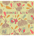 Retro Summer Love Birds Pattern vector image vector image