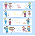 set banners with kids vector image vector image