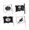 set of halloween flags in sketch style with vector image