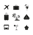 set of travel holiday black icons vector image vector image