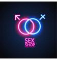 sex shop neon sign gender man woman symbol vector image vector image