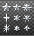 silver star set isolated on transparent background vector image