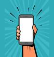 smartphone in hand retro comic pop art vector image
