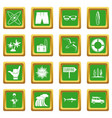 surfing icons set green vector image vector image