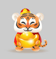 tiger with traditional chinese costume and ingot vector image