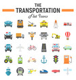 transportation flat icon set transport symbols vector image