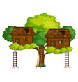 two treehouses on the tree vector image vector image
