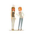 two young businesswomen characters arguing and vector image