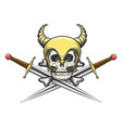 viking skull in helmet with swords vector image vector image