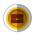 yellow round symbol business suitcase icon image vector image vector image