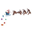 flying santa in a sleigh with deer christmas vector image