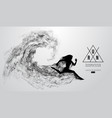 abstract silhouette of running athlete woman
