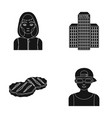 addict building and other web icon in black style vector image vector image