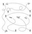 airplane track to point line way or air lines vector image