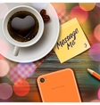 Autumn cup of coffee tablet and stick note vector image vector image