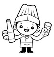 black and white executive chef mascot holding a vector image vector image