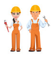 builder man and woman in uniform vector image