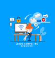 cloud computing services online security concept vector image vector image