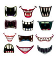 creppy fantasy monsters mouth set scary vector image