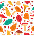 fall leaves seamless pattern hand drawn forest vector image