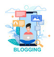 flat blogging smartphone screen vector image