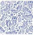 forest owl hand drawn seamless pattern vector image vector image