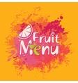 Fruit menu with orange slice and spray vector image