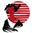 geisha kimono vector image vector image