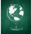 Globe drawn on green chalkboard vector image