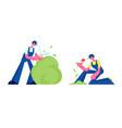 happy couple gardeners working in garden man vector image vector image