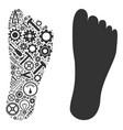 human footprint mosaic of service tools vector image vector image