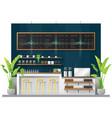 interior scene modern coffee shop counter bar vector image