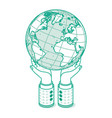 isometric businessman hands keeping globe outline vector image vector image