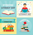 literacy day book banner concept set flat style vector image vector image