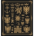 mega pack heraldic elements with baroque frame vector image vector image