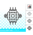 microchip circuit simple black line icon vector image