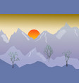 morning landscape with mountain sunrise vector image