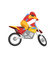 motorcyclist in helmet riding motorcycle vector image vector image