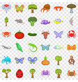 nature world icons set cartoon style vector image vector image