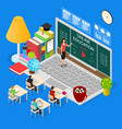 online education concept 3d isometric view vector image
