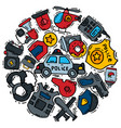 police symbol justice icons round set vector image vector image