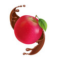 red apple in chocolate splash vector image vector image