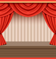 retro theater scene background design with red vector image vector image
