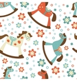 Rocking horses pattern vector image vector image