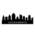 sacramento skyline silhouette black vector image vector image