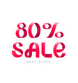 sale 80 percent off vector image
